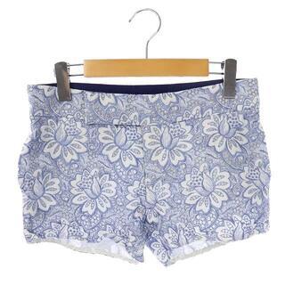 サカイラック(sacai luck)のサカイラック sacai luck ショートパンツ 花刺繍 総柄 青 ブルー 白(ショートパンツ)