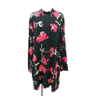 マリメッコ(marimekko)のマリメッコ ワンピース 花柄 スタンドカラー 長袖 36 S 深緑 ピンク(ひざ丈ワンピース)