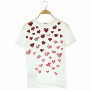 ミュウミュウ(miumiu)のミュウミュウ miumiu Tシャツ カットソー ハートプリント S 白 赤(Tシャツ(半袖/袖なし))