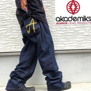 アカデミクス(AKADEMIKS)のアカデミクス ワイド デニム バギーパンツ 刺繍 b系 hip hop(デニム/ジーンズ)