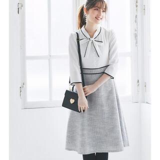 着るだけで可愛いリボンツイードワンピース♡お上品な大人可愛いデザイン♡(ひざ丈ワンピース)