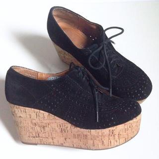 ジェフリーキャンベル(JEFFREY CAMPBELL)の厚底 コルクソール 本革 スエード レースアップシューズ(ローファー/革靴)