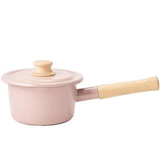 富士ホーロー - 片手鍋 ミルクパン コットンシリーズ アッシュピンク14cm CTN-14M.A