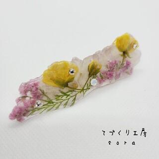 ヘアクリップ ヘアピン 押し花 ビオラ モッコウバラ(ヘアピン)