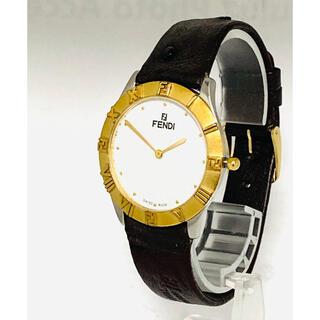 フェンディ(FENDI)の【美品】 FENDI メンズ腕時計 電池&ベルト新品交換済み ズッカゴールド(腕時計(アナログ))