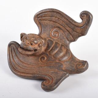 中国 紫砂 朱泥 蝙蝠 置物 M R3835(彫刻/オブジェ)