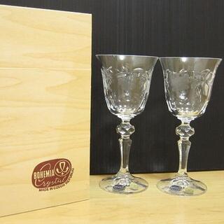 ボヘミア クリスタル(BOHEMIA Cristal)の新品 BOHEMIA CRYSTAL ボヘミアクリスタル ぶどう柄 ワイングラス(グラス/カップ)
