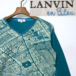 ランバン(LANVIN)の美品!LANVINランバン PLAN de PARIS パリ地図 切り替えロンT(Tシャツ/カットソー(七分/長袖))