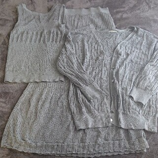 GU - 【2色まとめ買い】GU透かし編みアンサンブル、スカートのトータルコーディネート