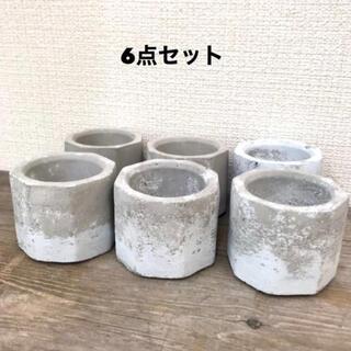 アンティーク風セメント鉢6点セット(プランター)