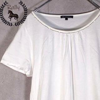 ニジュウサンク(23区)のB469 古着/半袖/トップス/シンプル/ビジュー/ビジネス/白/日本製(Tシャツ(半袖/袖なし))