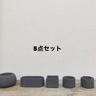 セメント鉢グレー 5点セット(プランター)