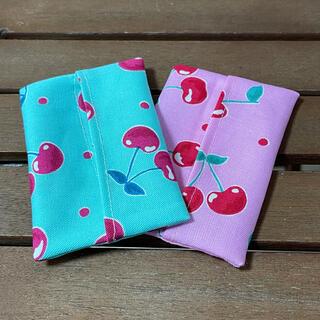 ミニポケットティッシュカバー2枚セット☆さくらんぼ♪ミントグリーン&ピンク(外出用品)