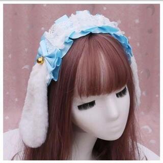 うさ耳 ヘッドドレス ロリータ コスプレ 仮装 ゴスロリ カチューシャ ブルー(衣装一式)