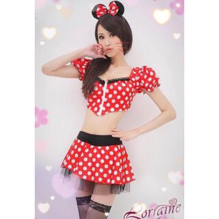 ディズニー(Disney)の【ミニー】コスプレ♡トップス、スカート、カチューシャ、ストッキング、Tバック(衣装一式)