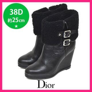 ディオール(Dior)のほぼ新品♪ディオール サイドカナージュ 二連ベルト ブーツ 38D(約25(ブーツ)