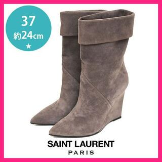 サンローラン(Saint Laurent)の美品♪サンローラン 折り返し スエード ウェッジソール ブーツ 37(約24(ブーツ)