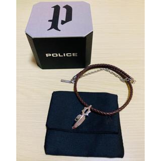 ポリス(POLICE)の【美品】POLICE ネックレス IMPACT レザー ブラウン(ネックレス)