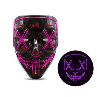 【新品・未使用】LED光るホラーマスク  パープル(小道具)