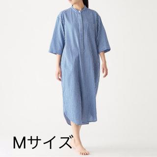 MUJI (無印良品) - 無印良品 インド綿 ガーゼ 七分袖クルタ ネイビーチェック Mサイズ 4990円