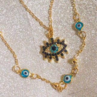 ナザールボンジュウ キラキラ大きな青い目 KCゴールド チェーンロングネックレス(ネックレス)