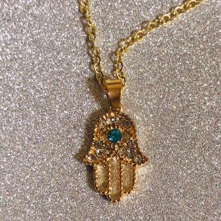 ハムサの手 ファティマ KCゴールドカラー キラキララインストーン ネックレス(ネックレス)
