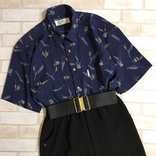 メンズ ネイビー プリント 柄シャツ Lサイズ 古着 カジュアル 紺青ブルー