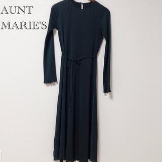 アントマリーズ(Aunt Marie's)の【美品】AUNT MARIE'S シアーリブカットワンピース ブラック 黒(ロングワンピース/マキシワンピース)