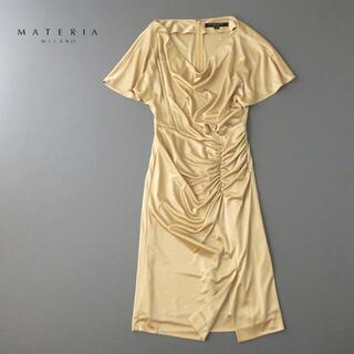 マテリア(MATERIA)の美品★MATERIA マテリア ドレープネック シャーリングワンピース(ひざ丈ワンピース)