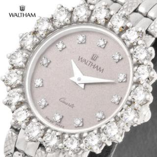 ウォルサム(Waltham)のウォルサム レディース K18WG ダイヤ32石 クォーツ ハイブランド 腕時計(腕時計)