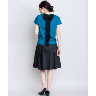 ランバンオンブルー(LANVIN en Bleu)の【LANVIN en Bleu】バックレースリボンカットソー・グリーン(Tシャツ(半袖/袖なし))