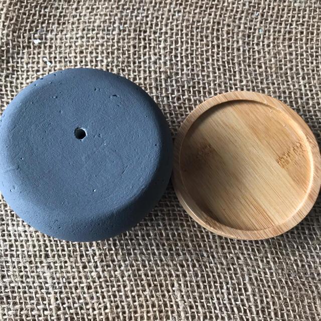 オシャレ セメント鉢グレー受け皿付き 2点セット ハンドメイドのフラワー/ガーデン(プランター)の商品写真