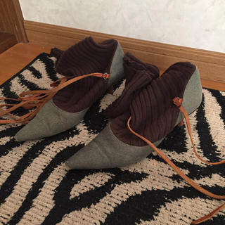 バーバリー(BURBERRY)のバーバリーニット編み上げレースアップデニムパンプスブーツ(ブーツ)