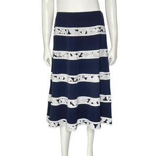 レオナール(LEONARD)の【SALE】レオナール ボーダー スカート 70 ネイビー ホワイト 1Q24(ひざ丈スカート)
