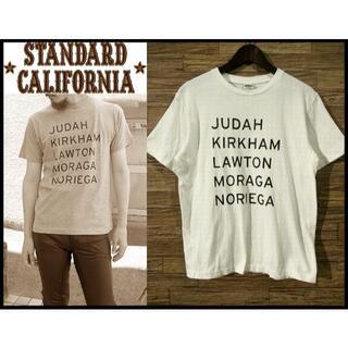 スタンダードカリフォルニア(STANDARD CALIFORNIA)のG② 美品 スタンダードカリフォルニア サイン プリント 半袖 Tシャツ 白 L(Tシャツ/カットソー(半袖/袖なし))