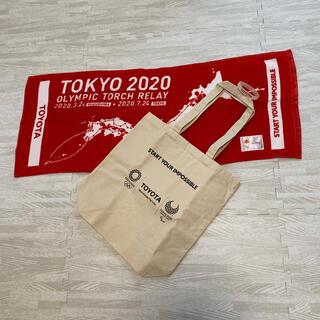 トヨタ(トヨタ)のTOYOTA 東京オリンピック2020 タオル トートバッグ(タオル/バス用品)