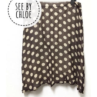 シーバイクロエ(SEE BY CHLOE)のSEE BY CHLOE【美品】シルク ドット柄 ひざ丈 スカート(ひざ丈スカート)