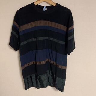 カラー(kolor)のkolor カラー Tシャツ カットソー ボーダー ブラック 送料込(Tシャツ/カットソー(半袖/袖なし))