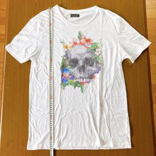 ザラ(ZARA)のザラマン カラフルスカル刺繍ビッグシルエットカットソー サイズ42(Tシャツ/カットソー(半袖/袖なし))