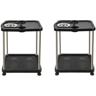 全自動麻雀卓に最適 サイドテーブル2台セット 灰皿、ドリンクホルダー付(麻雀)