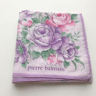 ピエールバルマン(Pierre Balmain)のpierre balmain ピエールバルマン ハンカチ スカーフ 花柄 紫(ハンカチ)