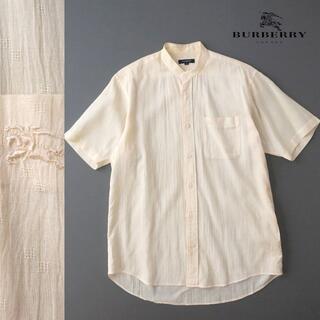 バーバリー(BURBERRY)のBURBERRY LONDON  リネン混 クレープ加工バンドカラーシャツ(シャツ)