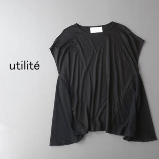utilite ユティリテ サイド切替 フレンチ袖 チュニック丈プルオーバー(Tシャツ/カットソー(半袖/袖なし))