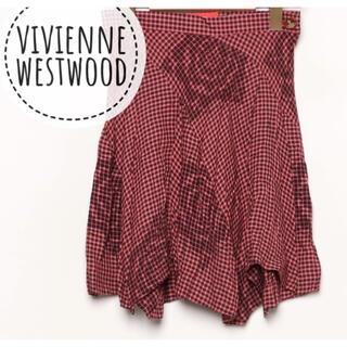 ヴィヴィアンウエストウッド(Vivienne Westwood)のヴィヴィアンウエストウッド【美品】薔薇×ギンガムチェック 変形 スカート(ミニスカート)