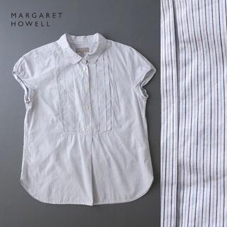 マーガレットハウエル(MARGARET HOWELL)のマーガレットハウエル タックプリーツ入りストライプシャツ(シャツ/ブラウス(半袖/袖なし))