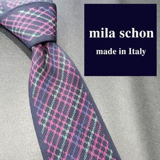 ミラショーン(mila schon)のミラショーン ネクタイ ブランド チェック 紺 ピンク 緑(ネクタイ)