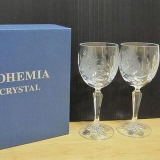 ボヘミア クリスタル(BOHEMIA Cristal)の新品 BOHEMIA CRYSTAL ボヘミアクリスタル 花柄 ペアワイングラス(グラス/カップ)