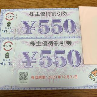 スシロー 株主優待券 1100円(レストラン/食事券)