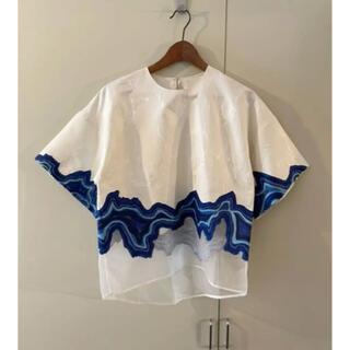 スリーワンフィリップリム(3.1 Phillip Lim)の3.1PHILLIPLIMフィリップリム白青刺繍レースオーバーサイズブラウス(シャツ/ブラウス(半袖/袖なし))
