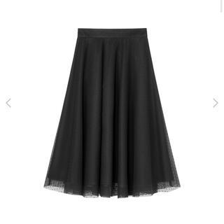 アベニールエトワール(Aveniretoile)の新品未使用♡Aveniretoile♡ドットチュールフレアスカート♡黒♡(ひざ丈スカート)